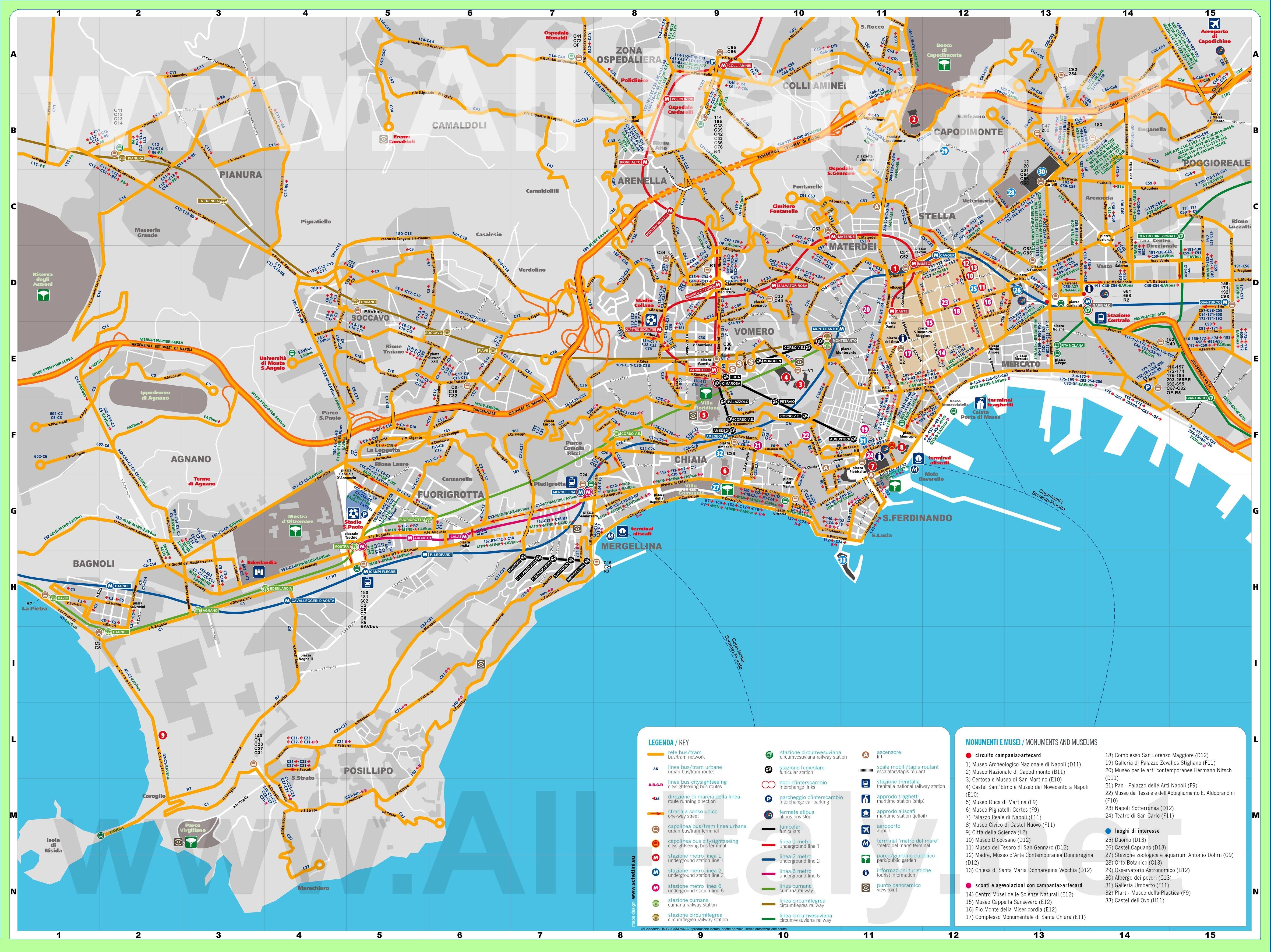 Подробная карта города Неаполь