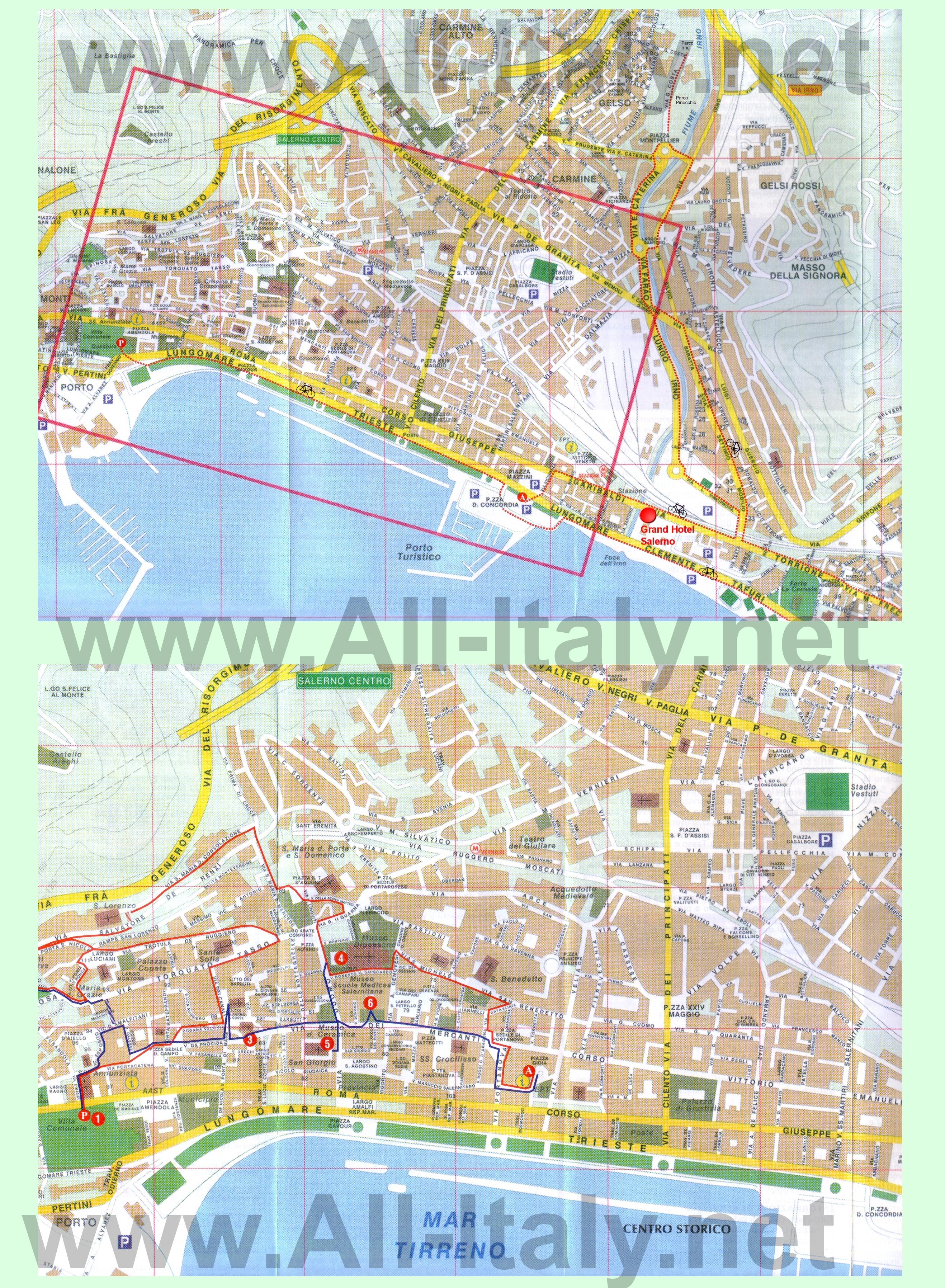 Туристическая карта Салерно с достопримечательностями