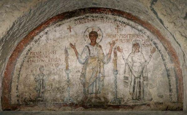 Катакомбы Неаполя - Сан-Дженнаро фреска